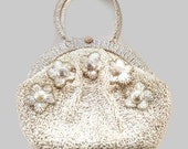 Vintage White Raffia 1960s Handbag (Treasury Item x 2)