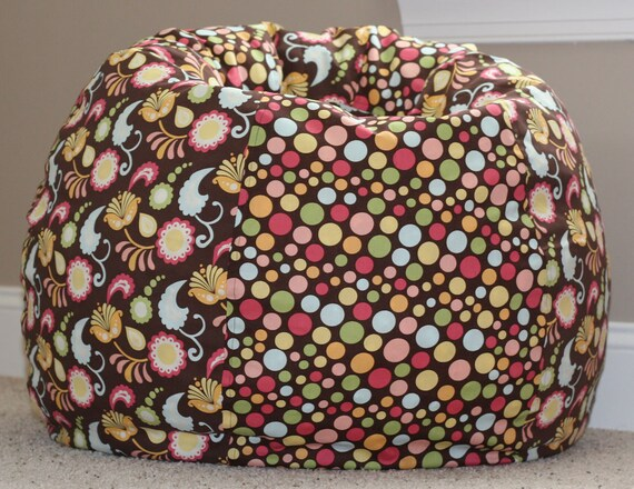 Brown Floral Amp Polka Dot Child Size Bean Bag Chair Cover With