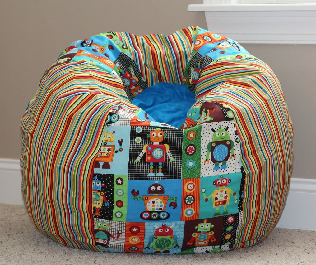robots stripes child size bean bag chair cover by