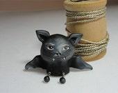 miniature Halloween BAT ever so cute original sculpture signed 1.25 inches tall