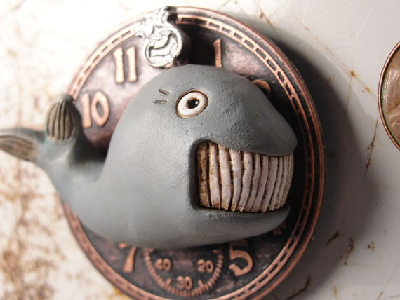 Steampunk WHALE magnet one of a kind sculpted signed art