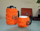 French Press Mug Set  Coffee Cozy Coral Orange Carrot Peach Apricot Copper Saffron Persimmon Bright Spice Mothers Day Gift