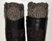 BOOT CUFFS Socks Leg Warmers Cabled Cozy Knit Barley Brown Tea Forest Earth  Wood  Gift under 50
