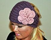 HEADBAND Earwarmer CHOOSE COLOR Crochet Knit Boho Warm Flower Hat Cozy Dusty Purple Lavender Lilac Romantic Girly Gift