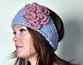 HEADBAND Earwarmer Headwrap CHOOSE COLOR Crochet Knit Boho Warm Flower Hat Cozy Light Gray Wool Acrylic Dusty Rose Pink Romantic Girly Gift