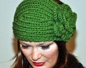 Ear warmer Headband  Headwrap Earwarmer CHOOSE COLOR Kelly Green Crochet Flower Girly  St. Patrick's day headband