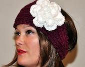 Crochet Headband Flower Earwarmer Headwrap CHOOSE COLOR Knit Winter Warm Flower Hat Cozy Wild Berry White Romantic Girly Gift