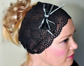 Lace Headband Black Bow Hair band Headwrap Stretch Headcovering Vintage Wide Headband Mothers Day Gift