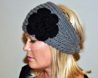 HEADBAND Earwarmer Headwrap Warm Winter Gray Black Crochet Flower Twilight Silver Ash Cloud Earth Neutral Girly Romantic Gift