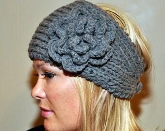 Ear warmer Headband  Headwrap knit crochet  Wool Winter Warm Flower Hat Cozy CHOOSE COLOR Gray Grey  Twilight Earth Ash Girly Romantic Gift