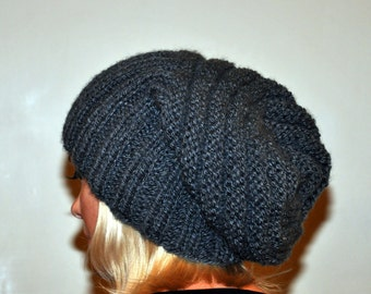 Slouchy Hat Slouch Beanie Hand Knit The Girl with the Dragon Tattoo Hat Winter Warm CHOOSE COLOR Chunky Grey Gray Charcoal Twilight Ash