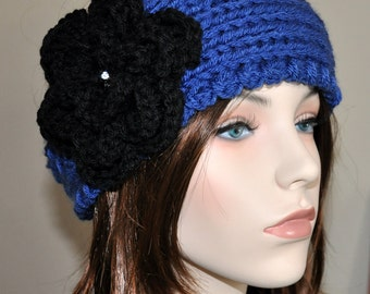 Ear warmer Headband head wrap Cozy CHOOSE COLOR Blue Sapphire Black Crystal Crochet Flower Hat Boho Girly Romantic Gift under 30