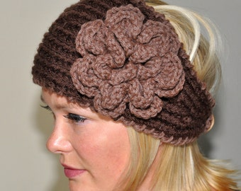 CROCHET HEADBAND Flower Color Brown Taupe CHOOSE Color Knitted Ear Warmer Hathead bands Hair Coverings Gift under 50