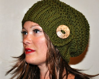 Slouch Beanie Slouchy Hat Button Hand Knit Winter Adult Teen Wool CHOOSE COLOR Olive Green Nature Forest Pine  Neutral Chunky Gift under 50
