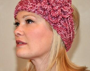 Crochet Headband Rose Pink Knit  Ear Warmer CHOOSE COLOR Crochet Flower  Earwarmer Hair Band Valentine's Day Gift