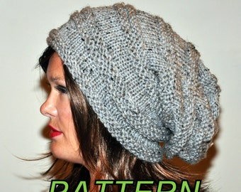 Slouch Beanie Slouchy Hat PDF PATTERN DIY Hand Knit Winter Adult Teen Gray Marble Grey Nature Forest Earth Neutral Chunky