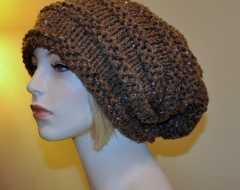 Slouch Beanie Slouchy Hat Beret Hand Knit Winter Adult Teen Tam CHOOSE COLOR Barley Brown Natural Rustic Wood Earth Neutral Chunky Gift