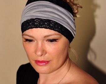 Headband Headwrap Black Lace Vintage Gray Black Head Scarf Yoga Bandana wide hair wrap Romantic Gift Easter Mothers Day