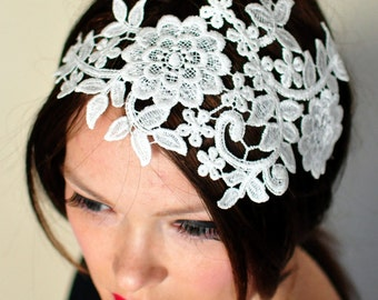 Lace Headband Ivory Headwrap Wedding Bridal Hair Band Vintage Head wrap Romantic Girly Flowers Laces Mothers Day Gift