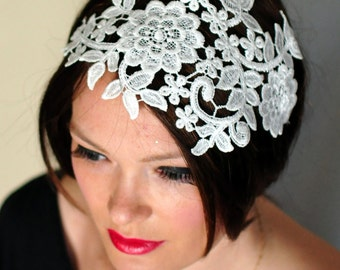 Wedding Headband Ivory Headwrap Bridal Hair Band Vintage Head wrap Hair Scarf  Romantic Girly Flowers Laces Mothers Day Gift