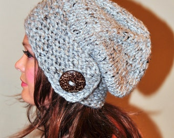 Slouchy Hat Slouch Beanie Button Hand Knit Winter Adult Teen Wool CHOOSE COLOR Gray Marble Grey Neutral Chunky Christmas Gift