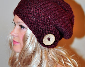 Slouchy Hat Slouch Beanie Button Hand Knit Winter Adult Teen Wool CHOOSE COLOR  Burgundy  Dark Red Wine Chunky Christmas Gift