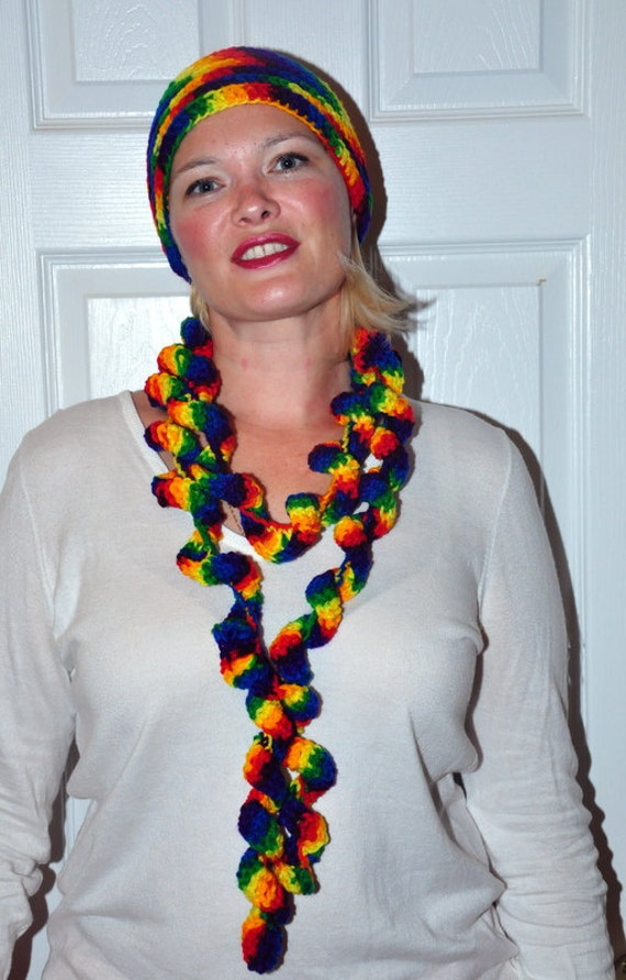 Skinny Scarf Long Funky Hippy Crochet Knitted Knit Vegan Twisted Multicolor  ruffle scarf lariat gypsy rainbow