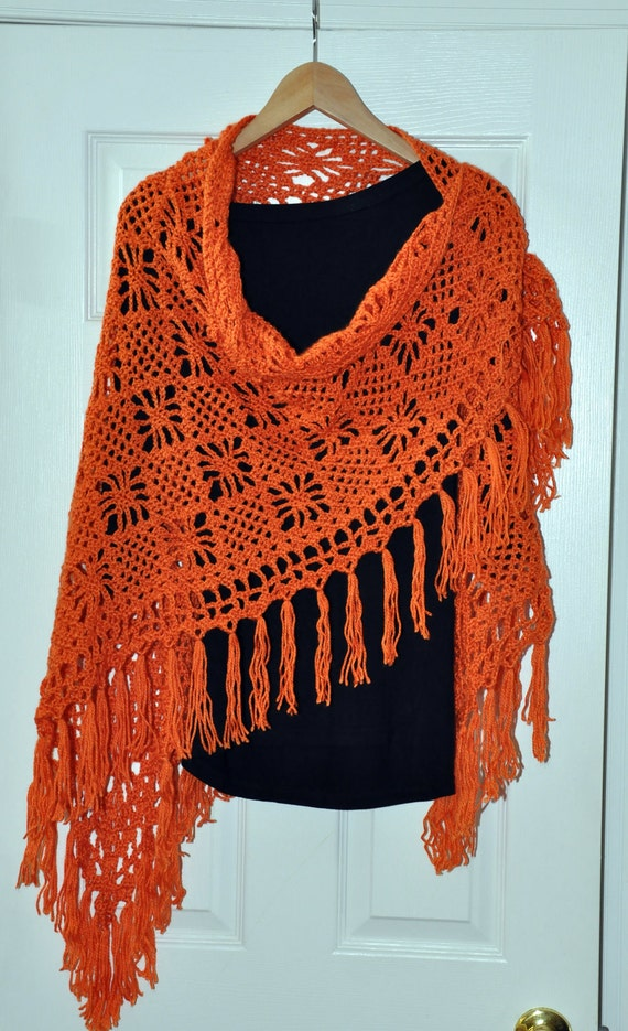 Mother's Day Gift Shawl Poncho Crochet Lace Scarf Wrap Halloween Rust Carrot Peach Apricot Copper Saffron Persimmon Bright Spice Gift