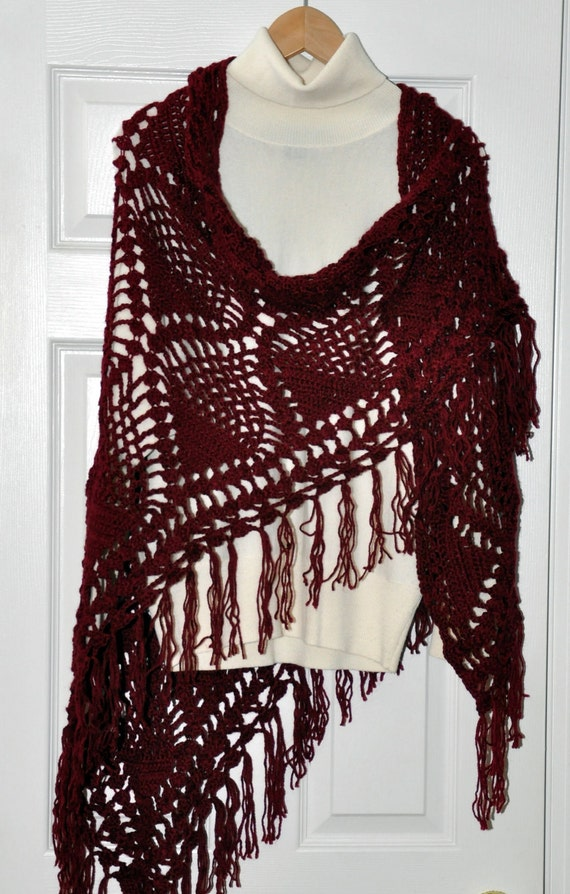 Christmas Gift Shawl Poncho Wrap Crochet Burgundy Gift for mom Evening scarf Wine Berry Date Weekend cozy Fall Scarf