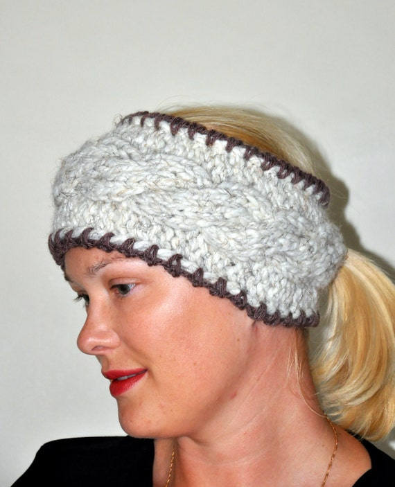 Items similar to HEADBAND Ponytail Hole Knit Earwarmer CHOOSE COLOR Cabled Wa...