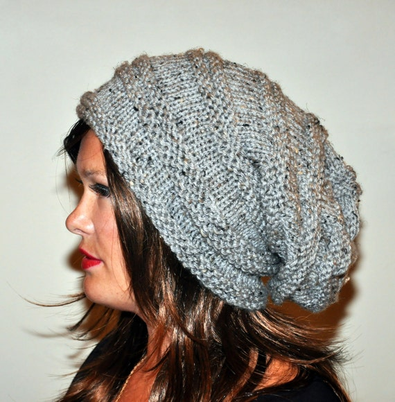 Slouch Beanie Slouchy  Hat Beret Hand Knit Winter Women Tam Gray Marble Grey Nature  Forest Earth  Neutral Chunky