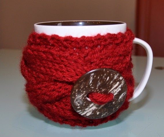 Mug Cozy Cranberry CHOOSE COLOR Coffee Cup Sleeve Tea Dark Ruby Wine Berry Red Rose Mothers Day Gift under 20