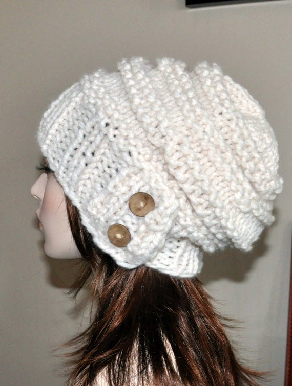 Slouch Hat Slouchy Beanie Button Snow Knit Winter Adult Teen Wool CHOOSE COLOR Cloud Naturel Beige Earth Neutral Chunky Gift under 50