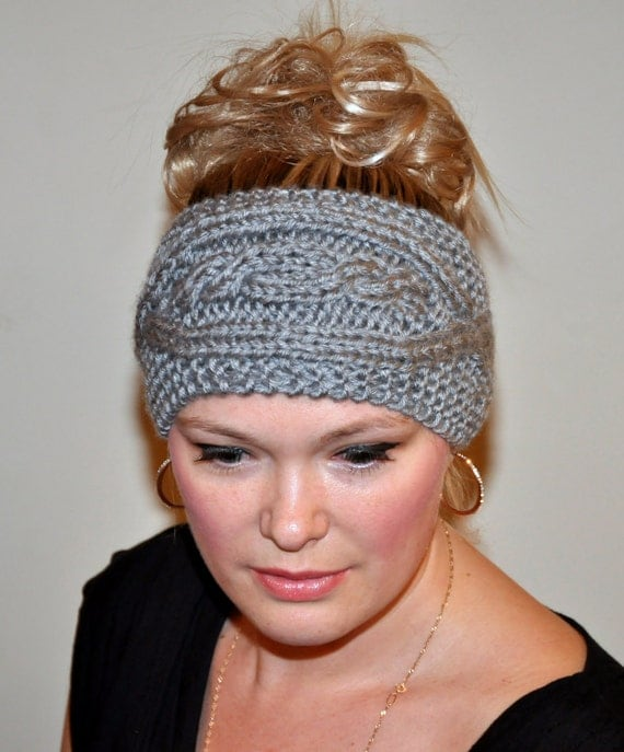 Headband Head wrap Ear warmer  Spring Hair Band Button CHOOSE COLOR Gray Grey Cabled Cloud Ash Eco Neutral Nature Gift under 25