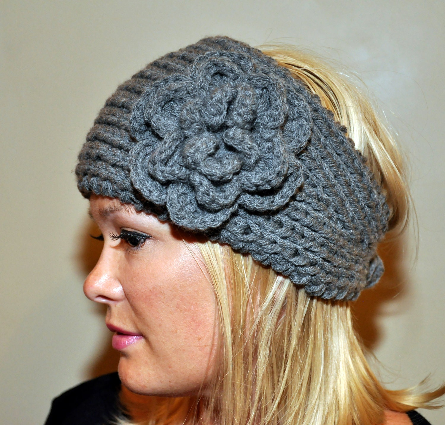Knitting Patterns For Ear Warmers With Flower : Ear warmer Headband Headwrap knit crochet Wool Winter Warm