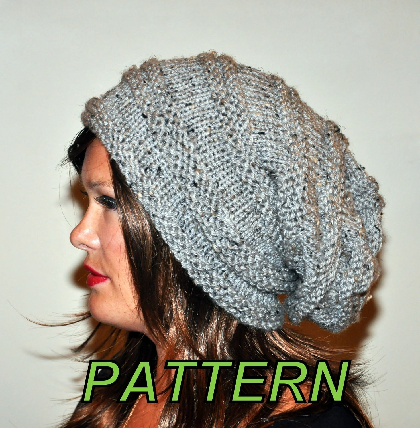 Slouch Hat Knitting Pattern : Slouch Beanie Slouchy Hat PDF PATTERN DIY Hand Knit Winter