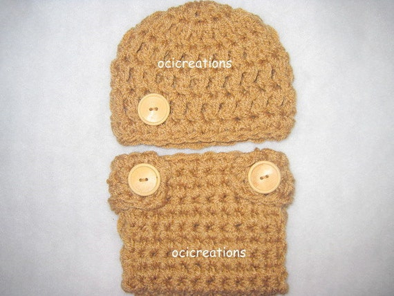 Crochet Baby Diaper Cover Set In Caramel Brown 0-3 Months Photo Prop READY To SHIP