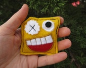 felt brooch yellow monster pin My monster collection
