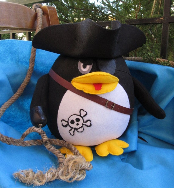 Linux Pirate Penguin handmade geek doll stuffed animal