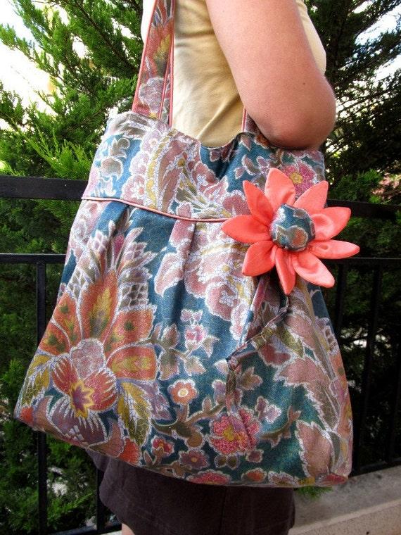 Teal blue shoulder bag tote purse large flower ornament fashion every day bag