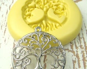 Tree of Life (with bail) - Flexible Silicone Mold - Push Mold, Polymer Clay Mold, Clay Mold, Jewelry Mold