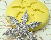 Snowflake (design 1)  - Flexible Silicone Mold - Push Mold, Jewelry Mold, Polymer Clay Mold, Resin Mold, Craft Mold, PMC Mold