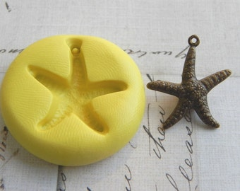 STARFISH with bail - Flexible Silicone Mold - Push Mold, Jewelry Mold, Polymer Clay Mold, Resin Mold, Craft Mold, Food Mold, PMC Mold