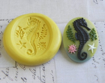SEAHORSE - 40mm x 30mm - Flexible Silicone Mold - Push Mold, Jewelry Mold, Polymer Clay Mold, Resin Mold, Craft Mold, Food Mold, PMC Mold