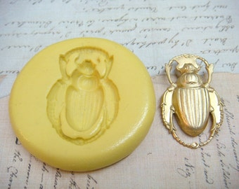 SCARAB BEETLE - Flexible Silicone Mold - Push Mold, Jewelry Mold, Polymer Clay Mold, Resin Mold, Craft Mold, Food Mold, PMC Mold