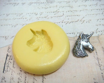 UNICORN HEAD - Flexible Silicone Mold - Push Mold, Jewelry Mold, Polymer Clay Mold, Resin Mold, Craft Mold, Food Mold, PMC Mold