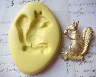 SQUIRREL with NUT - Flexible Silicone Mold - Polymer Clay Mold, Pmc Mold, Resin Mold, Jewelry Mold, Push Mold