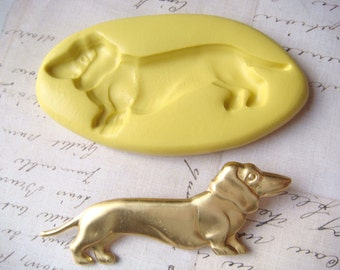 DACHSHUND - Flexible Silicone Mold - Push Mold, Jewelry Mold, Polymer Clay Mold, Resin Mold, Craft Mold, Food Mold, PMC Mold