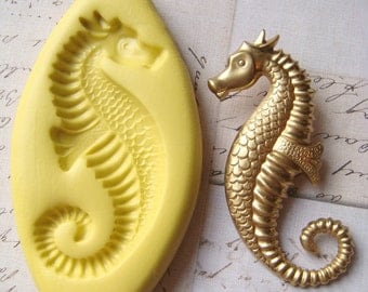 SEAHORSE - Design 1 - Flexible Silicone Mold - Push Mold, Jewelry Mold, Polymer Clay Mold, Resin Mold, Craft Mold, Food Mold, PMC Mold