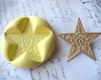 STAR with Floral Pattern - Flexible Silicone Mold - Polymer Clay Mold, Pmc Mold, Resin Mold, Crafting Mold, Push Mold